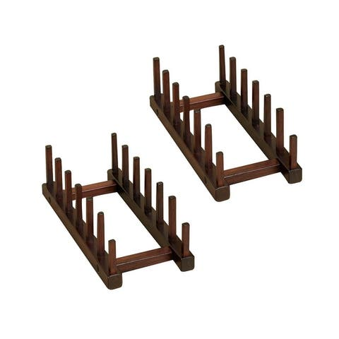 Wooden Plate Storage Rack, Set of 2