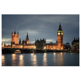 """""""View of Big Ben in London at night, England"""" Poster Print"""