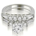 1.60 cttw. 14K White Gold Baguette and Round Diamond Bridal Set - Thumbnail 0