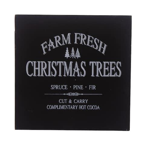 "5"" Black Square Block Sign with Farm Fresh Christmas Trees Design"