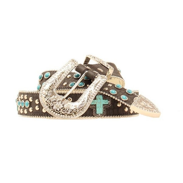 Blazin Roxx Western Belt Womens Gator Cross Black Turquoise