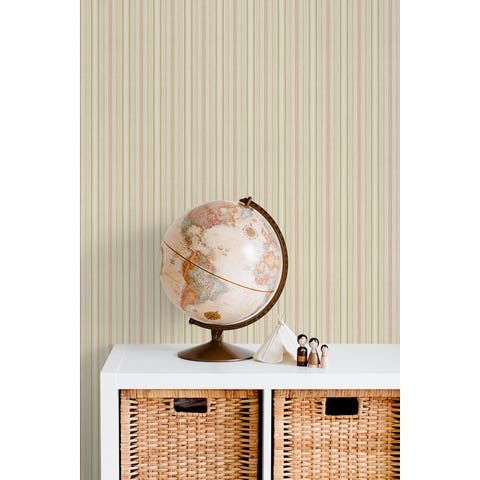 Seabrook Designs Simple Stripe Unpasted Wallpaper - 27 in. W x 27 ft. L