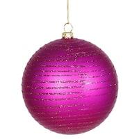 "Cerise Pink Glitter Striped Shatterproof Christmas Ball Ornament 4"" (100mm)"