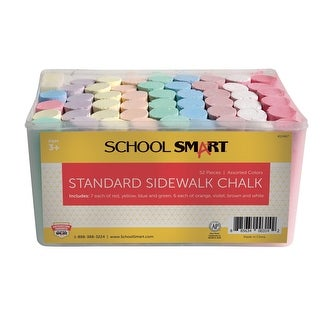 School Smart Non-Toxic Sidewalk Chalk, 4 L x 1 W in, Assorted Colors, Pack of 52