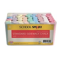 School Smart Standard Sidewalk Chalk, 4 x 1 Inches, Assorted Colors, Pack of 52