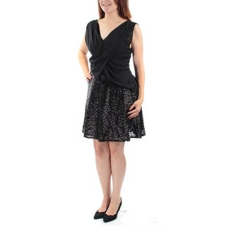 Womens Black Sleeveless Above The Knee Blouson Cocktail Dress Size: 6