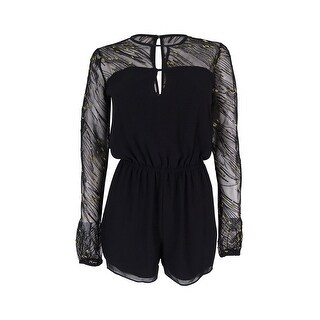 BCBGeneration Women's Metallic Illusion Keyhole Romper - Black