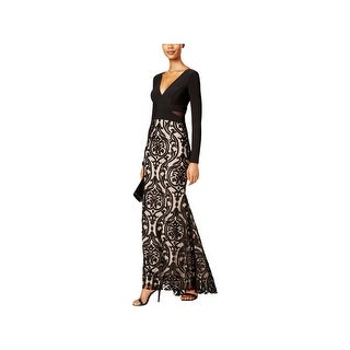 Xscape Womens Petites Evening Dress Embroidered Illusion - 6P