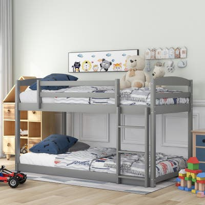 Grey Wood Twin Over Twin Bunk Bed