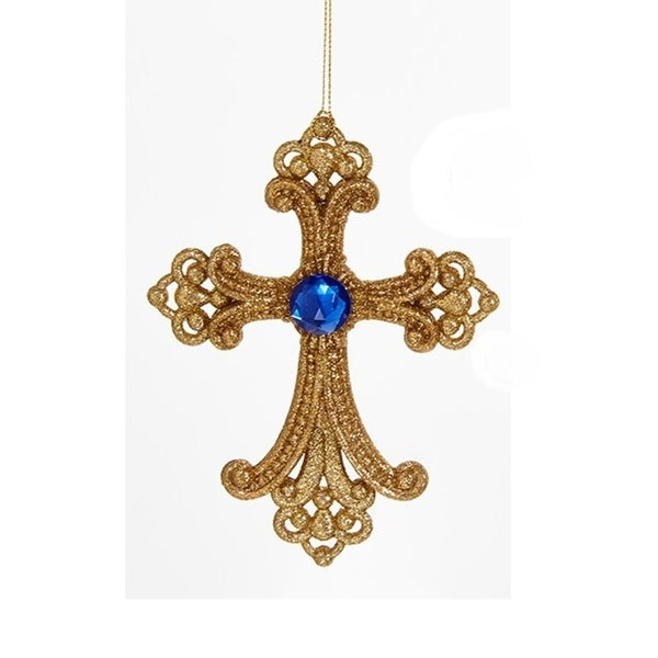 """6"""" Decorative Gold Cross with Glitter and Blue Gem Hanging Christmas Ornament"""
