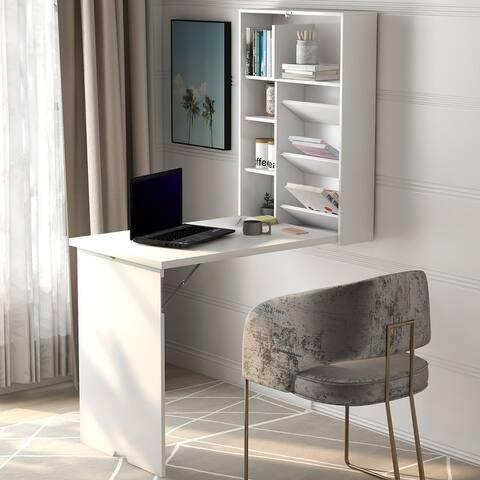 TiramisuBest Modern foldable desk bookcase dual-use