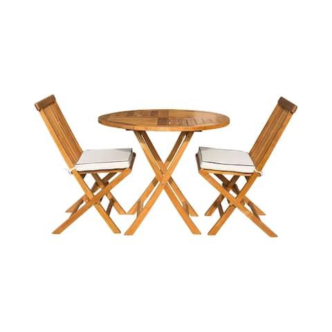 "Seven Seas Teak 3 Piece Teak Wood Valencia Patio Bistro Dining Set, 36"" Round Folding Table with 2 Folding Side Chairs"