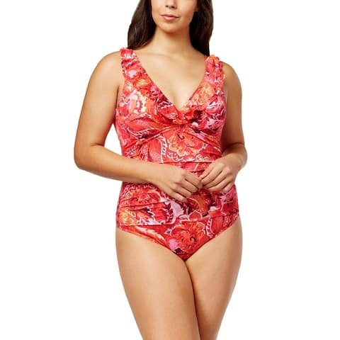 Ralph Lauren Women Plus Size Tummy Control One-Piece Swimsuit - Coral Floral - 22W