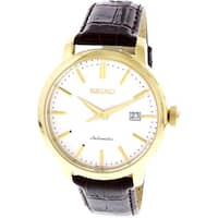 Seiko Men's Classic SRPA28K Gold Leather Automatic Dress Watch