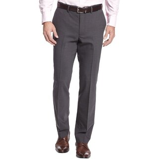 Kenneth Cole New York Precision Fit Textured Dress Pants Charcoal 30 x 30