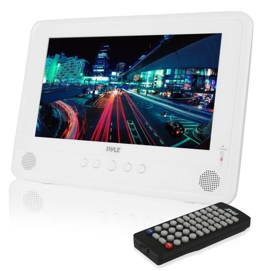 Water Resistant & Weather-Proof 10'' Portable CD/DVD Player, Built-in Rechargeable Battery, USB/SD Readers