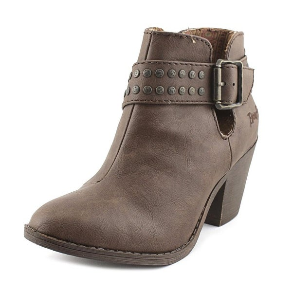 Blowfish Super Women Round Toe Leather Tan Bootie