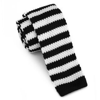 "Men's 2"" Knit Stripped Black and White Tie"
