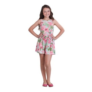 Pulla Bulla Big Girl Floral Romper Sleeveless Jumpsuit