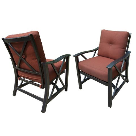 Aluminum Outdoor Deep Seating Rocking Club Chairs in Antique Copper Finish with Thick Red Polyester Cushions (set of 2)