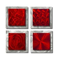 Statements2000 Set of 4 Red/Silver Metal Wall Art Accents by Jon Allen - 4 Squares Red