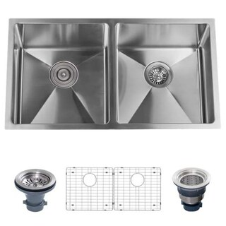 """Miseno MSS3219SR5050 32"""" Undermount Double Basin Stainless Steel Kitchen Sink with 50/50 Split - Drain Assemblies and Fitted"""