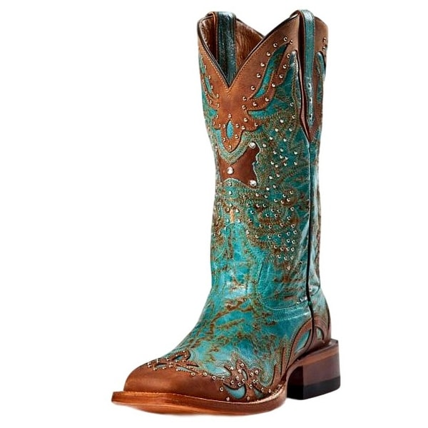 a7188d42e12 Johnny Ringo Western Boots Womens Cowboy Aqua Brown