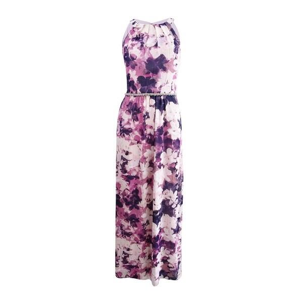 f788cc22bd69 SLNY Purple Chiffon Floral Print Women's 16 Embellished Maxi Dress