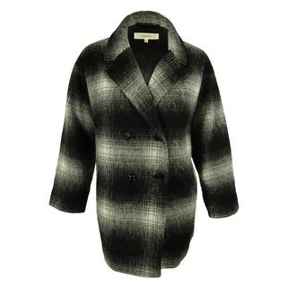 Wildflower Women's Plaid Double-Breasted Peacoat - BLACK/WHITE - XxL