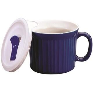 CorningWare 1105119 Pop-Ins Mug With Vented Plastic Cover, 20 OZ, Blue