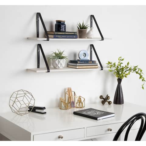 Kate and Laurel Soloman 2 Wood Shelves w/ Metal Brackets - 2 Piece 28 inches