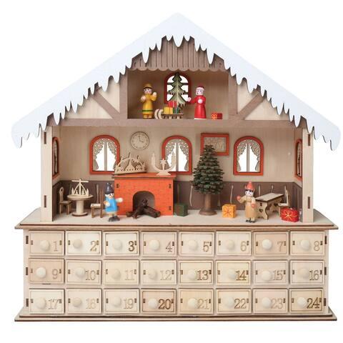 LED Lighted Santa's Workshop Wooden Advent Calendar - 24 Opening Drawers - Brown