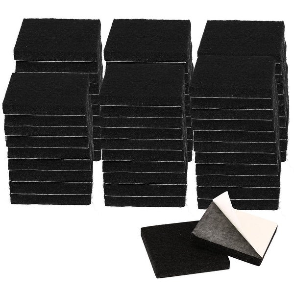 """60pcs Furniture Felt Pads Square 1 1/4"""" Self-stick Non-slip Anti-scratch Pads for Sofa Cabinet Chair Feet Floor Protector Black"""