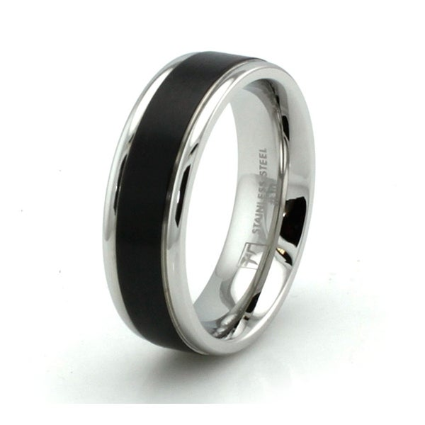 Two-Tone Stainless Steel Grooved Ring w/ Black Resin Strip