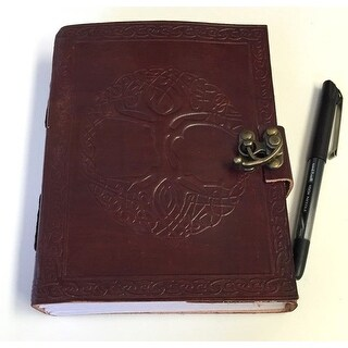 Handmade Embossed Leather Celtic Tree of Life Journal Notebook with Latch (2 options available)