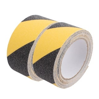 2Pcs Black Yellow Anti-Slip Grip Safety Tape High Traction Indoor Outdoor 5cmx5M