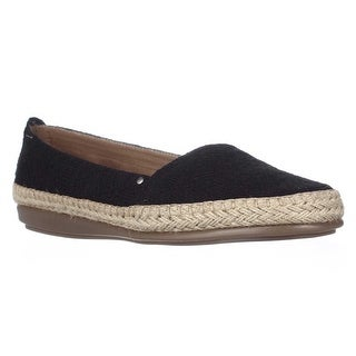 Aerosoles Solitaire Slip-On Espadrille Flats - Black Eyelet