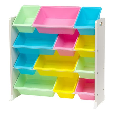 IRIS 4-Tier Kids Storage Bin Organizer Rack in Pastel