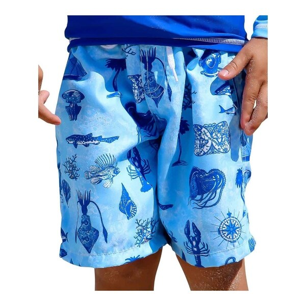 Sun Emporium Baby Boys Aqua Blue Voyager Print Board Short
