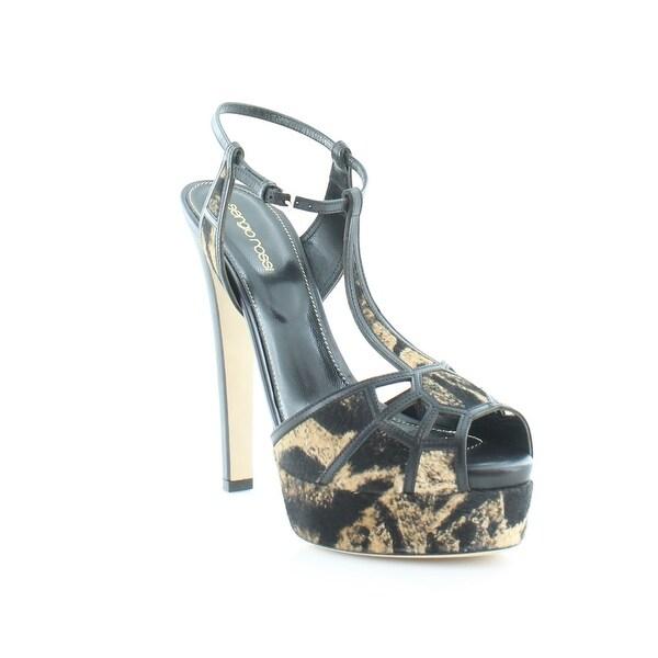 Sergio Rossi Crystal Puzzle Women's Heels Black / Saddle - 9