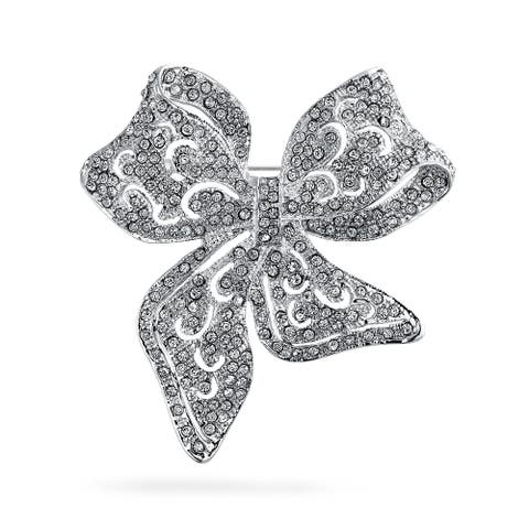 Large Vintage Style Statement Ribbon Open Filigree Crystal Wedding Bow Brooch Pin For Women Silver Plated