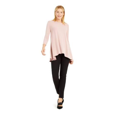 ALFANI Womens Pink Long Sleeve Jewel Neck Trapeze Top Size XL