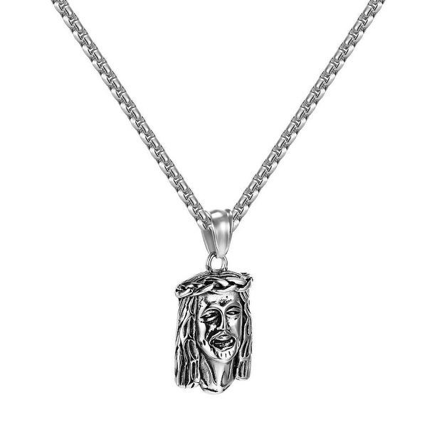 "Jesus Christ Face Pendant Free 24"" Necklace Stainless Steel Charm Hip Hop Rapper"