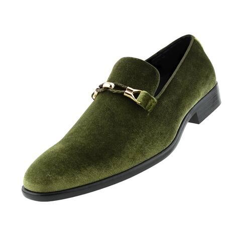 Amali Aller - Men's Velvet Smoking Slip on Shoes with Metal Buckle