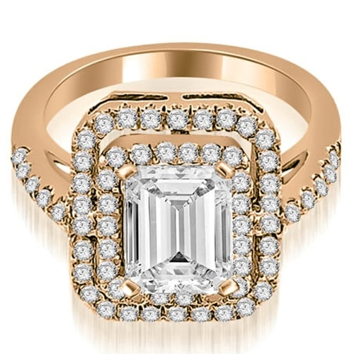 1.17 cttw. 14K Rose Gold Double Halo Emerald Cut Diamond Engagement Ring