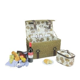 4-Person Hand Woven Wheat Picnic Basket Set with Accessories