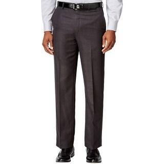 Sean John Big and Tall Tonal Glen Plaid Flat Front Dress Pants Grey 42 x 30