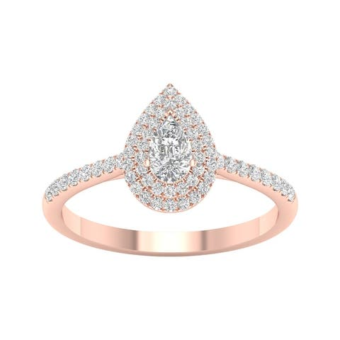 1/2ct TDW Diamond Pear Shape Double Halo Ring in 10k Gold by De Couer