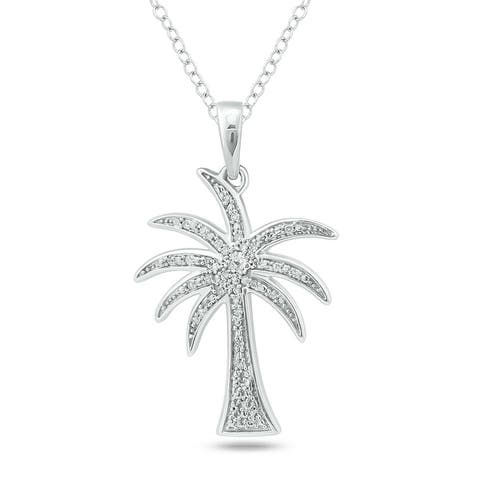 Cali Trove 1/20ct TDW Palm Tree Necklace Pendant In Sterling Silver