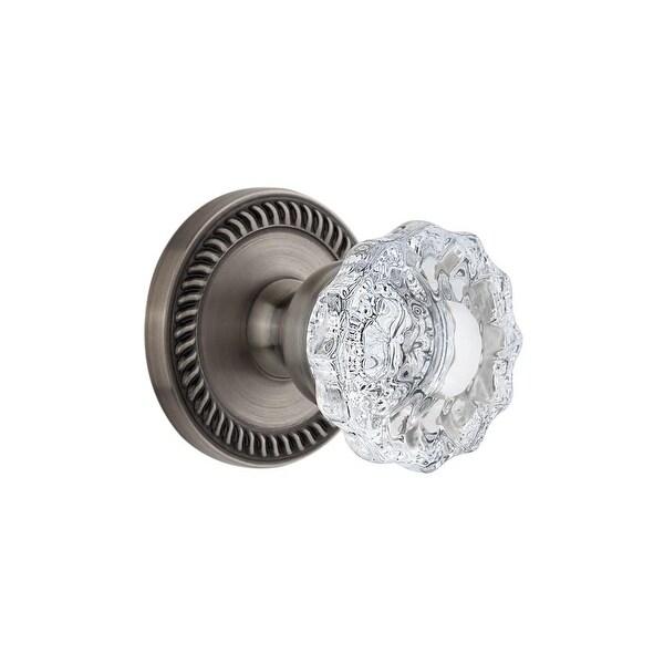 "Grandeur NEWVER_PRV_238 Newport Solid Brass Rose Privacy Door Knob Set with Versailles Crystal Knob and 2-3/8"" Backset"